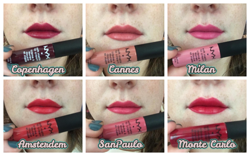 Nyx matte lip cream swatches fair skin