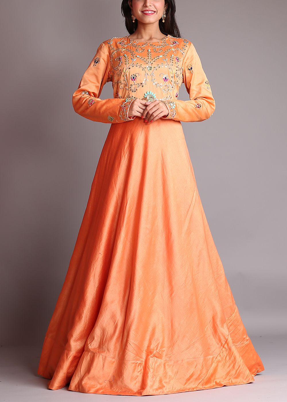 Orange-Chanderi-Anarkali-Suit