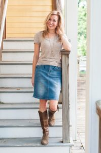 denim skirt with cowboy boots