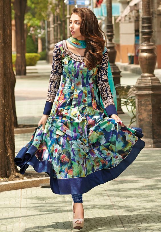rinted Anarkali suits designs