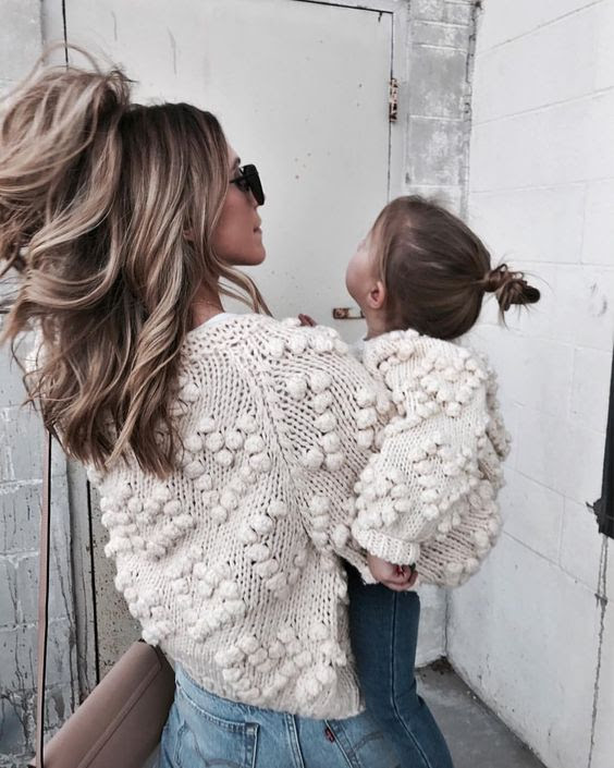chunky sweaters mother daughter outfits