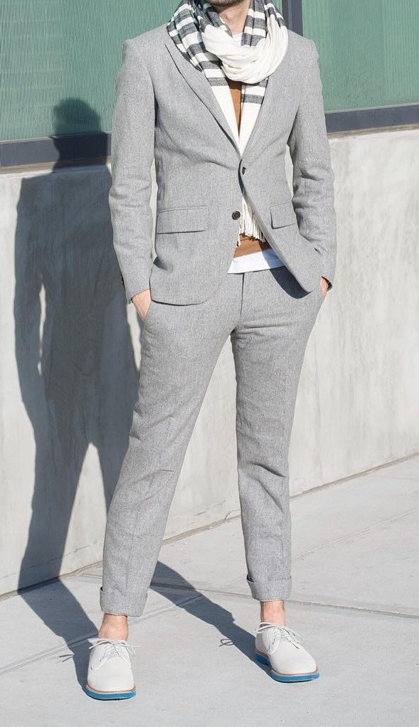 Grey-suit-With-Striped-T-shirt-Sacrf-for-Men