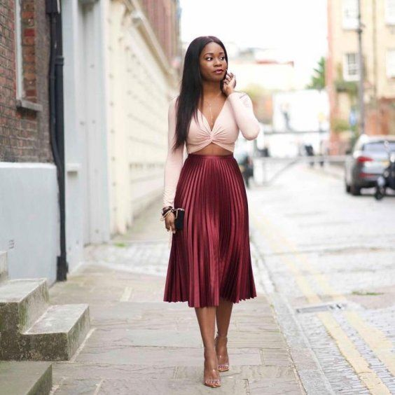 how to style pleated skirt