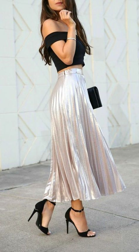metallic pleated skirt with off shoulder top