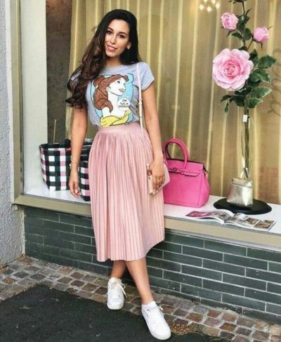 pink pleated skirt with tee