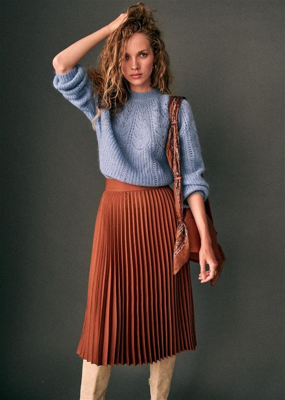 pleated skirt outfit ideas fashion