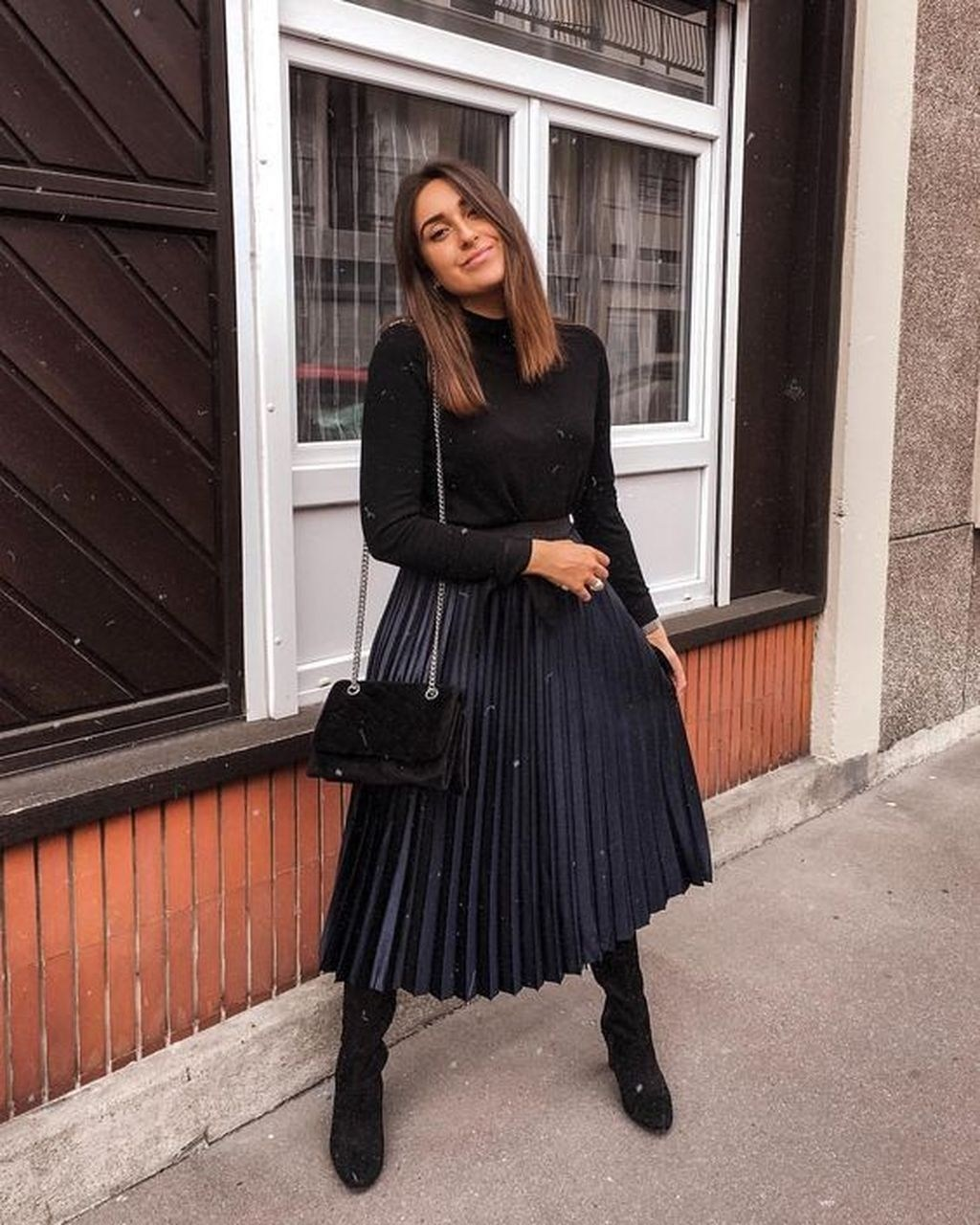 pleated skirt outfits for winter
