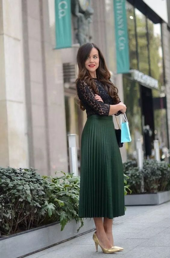 pleated skirt with blouse